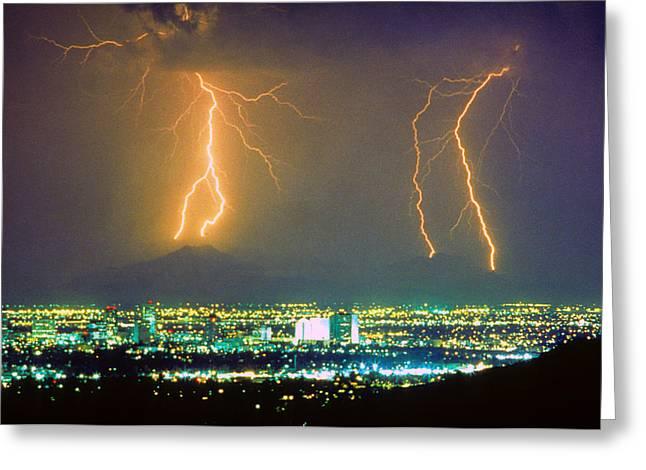 South Mountain Lightning Strike Phoenix Az Greeting Card by James BO  Insogna