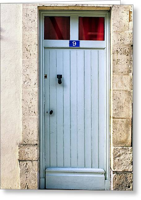 Stone House Greeting Cards - South of France pale blue door Greeting Card by Nomad Art And  Design