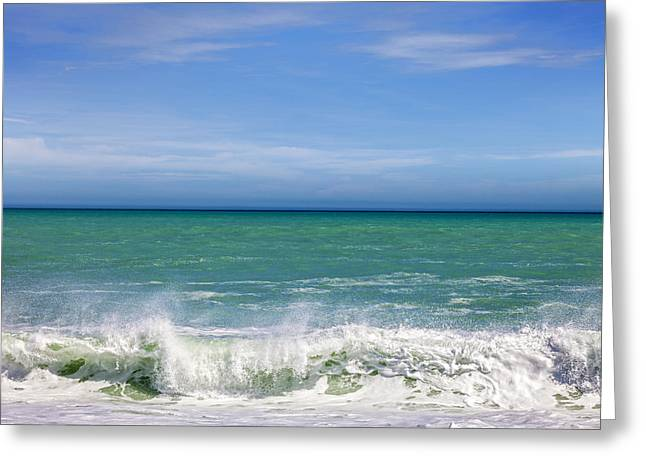 Blue Green Wave Greeting Cards - South Pacific  Greeting Card by Colin and Linda McKie