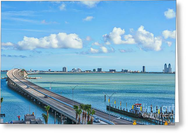 Para Surfing Greeting Cards - South Padre Island Bridge Greeting Card by Tod and Cynthia Grubbs
