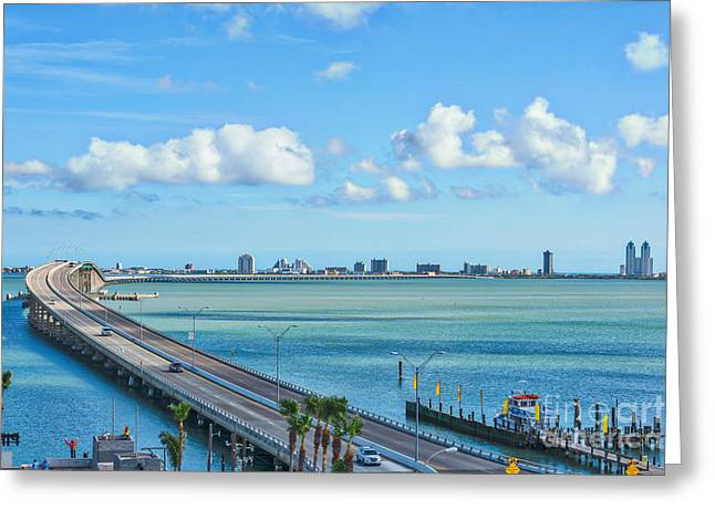 South Padre Island Bridge Greeting Card by Tod and Cynthia Grubbs