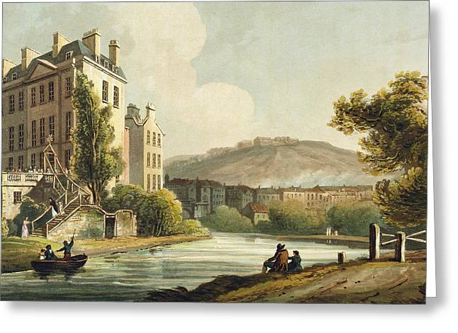 England Town Greeting Cards - South Parade From Bath Illustrated Greeting Card by John Claude Nattes