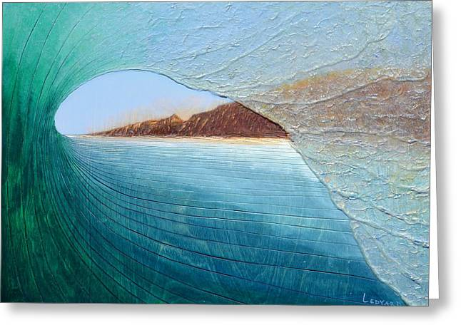 Surf Art Greeting Cards - South Peak Barrel Greeting Card by Nathan Ledyard