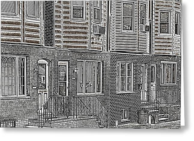 South Philadelphia Greeting Cards - South Philly Row Homes Greeting Card by John Janette