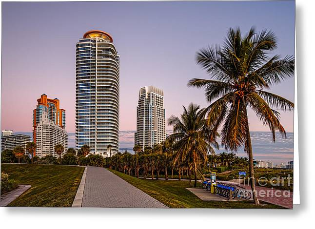 Biscayne Bay Greeting Cards - South Pointe Park on a quiet Fall morning - South Beach Miami Beach - Florida Greeting Card by Silvio Ligutti