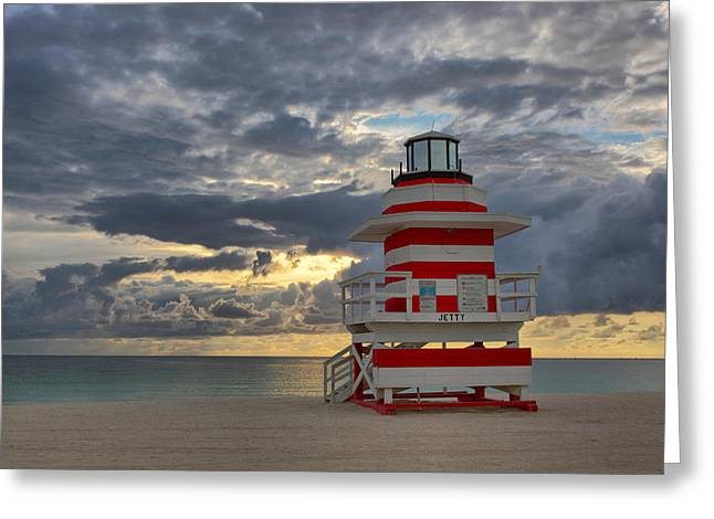 Claudia Domenig Greeting Cards - South Pointe Park Lighthouse Greeting Card by Claudia Domenig