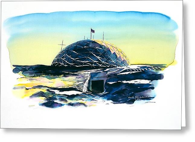 Dome Tapestries - Textiles Greeting Cards - South Pole Dome Antarctica Greeting Card by Carolyn Doe