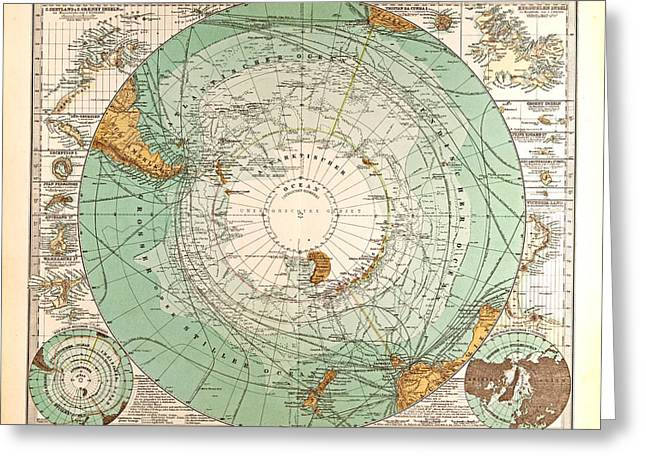 South Pole Map Gotha Justus Perthes 1872 Atlas Greeting Card by English School