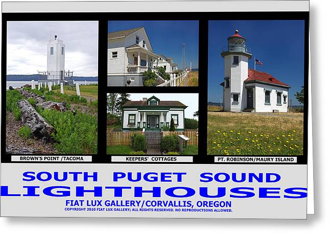 South Puget Sound Greeting Cards - South Puget Sound Lighthouses Greeting Card by Mike Moore FIAT LUX