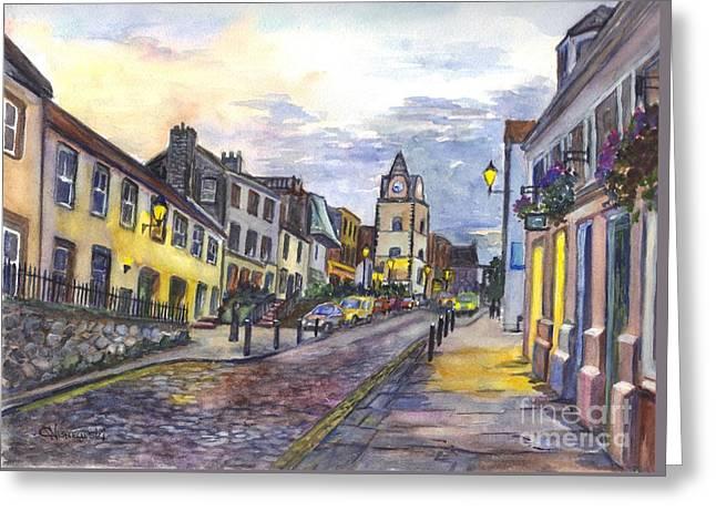 Port Town Drawings Greeting Cards - Nightfall at South Queensferry Edinburgh Scotland at Dusk Greeting Card by Carol Wisniewski