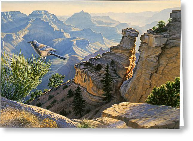 Canyons Paintings Greeting Cards - South Rim Morning Greeting Card by Paul Krapf