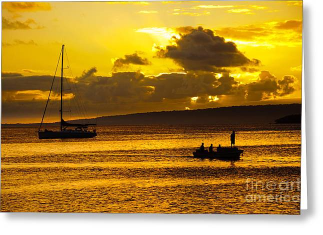 Pastimes Greeting Cards - South Sea Sunset - Ferry and yacht at Port Vila - Vanuatu - South Pacific.  Greeting Card by David Hill