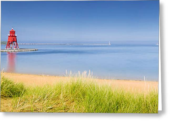 Sand Castles Greeting Cards - South Shields Beach Panorama Greeting Card by David Head