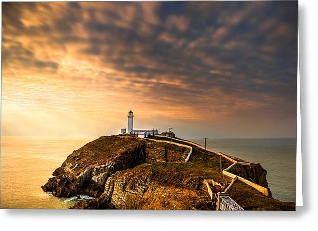 Smart Greeting Cards - South Stack Sunset Greeting Card by Christine Smart
