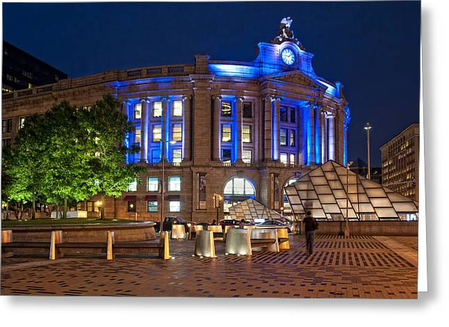 Patriotic Scenes Greeting Cards - South Station in Blue - Boston Greeting Card by Joann Vitali