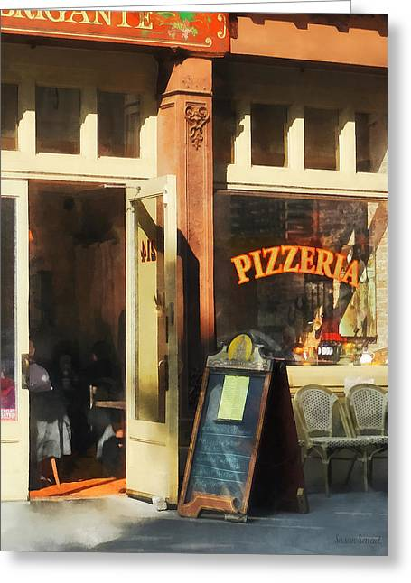New York Ny Greeting Cards - South Street Seaport Pizzeria Greeting Card by Susan Savad