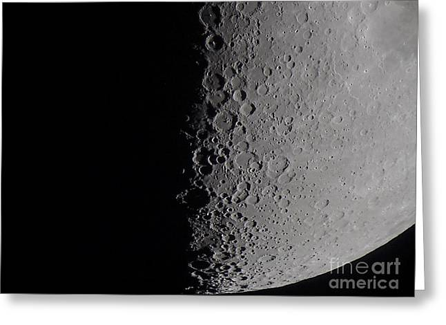 Waning Moon Greeting Cards - South Terminator Of 7 Day Moon Greeting Card by Alan Dyer