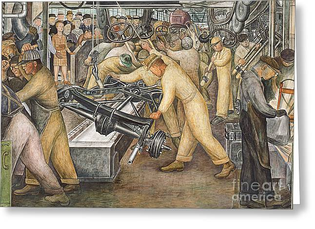 Machine Paintings Greeting Cards - South Wall of a Mural depicting Detroit Industry Greeting Card by Diego Rivera