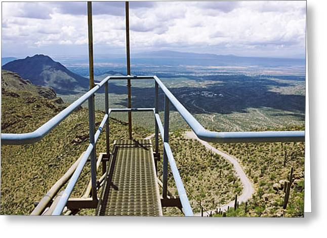 Overcast Day Greeting Cards - South West View Towards The Old Tucson Greeting Card by Panoramic Images