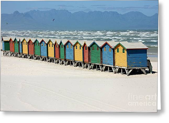 Himmel Greeting Cards - southafrica muizenberg beach huts III Greeting Card by Meleah Fotografie