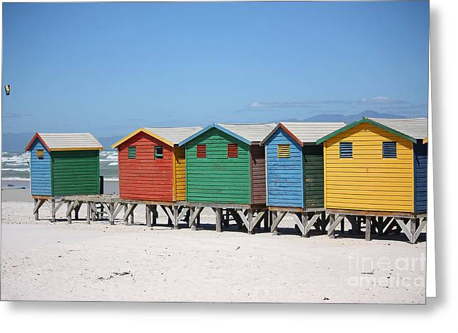 Himmel Greeting Cards - southafrica muizenberg beach huts IV Greeting Card by Meleah Fotografie