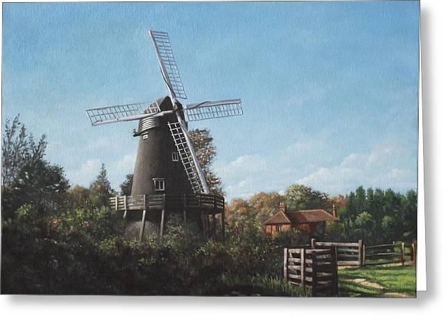 Southampton Paintings Greeting Cards - Southampton Bursledon Windmill Greeting Card by Martin Davey