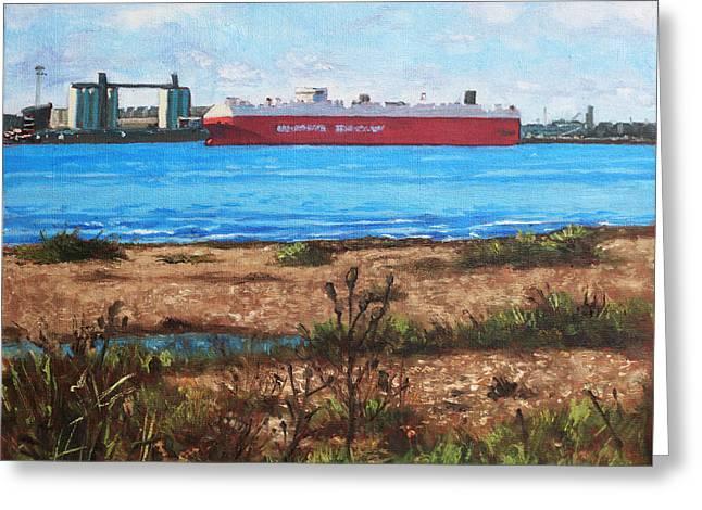 Southampton Water Paintings Greeting Cards - Southampton cargo ship as seen at Weston Shore Greeting Card by Martin Davey