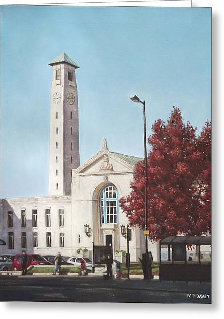 Bus Stop Greeting Cards - Southampton Civic Center public building Greeting Card by Martin Davey