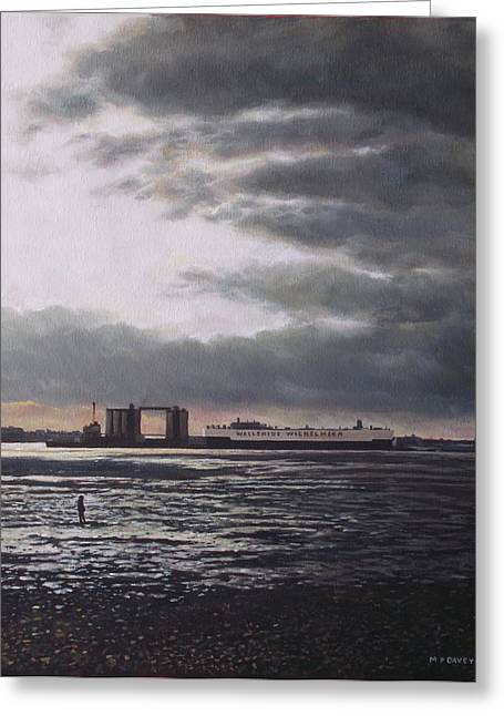 Southampton Paintings Greeting Cards - Southampton Docks from Weston shore winter sunset Greeting Card by Martin Davey