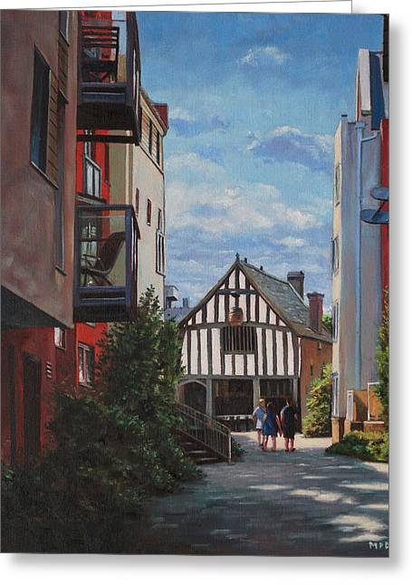 Southampton Paintings Greeting Cards - Southampton Medieval Merchant House from High st Greeting Card by Martin Davey