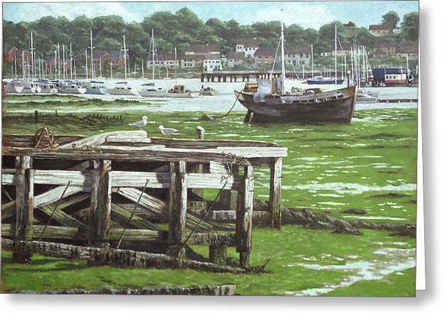 Alga Paintings Greeting Cards - Southampton Northam river Itchen mudflats Greeting Card by Martin Davey