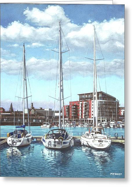 Boats In Harbor Greeting Cards - Southampton Ocean Village marina Greeting Card by Martin Davey