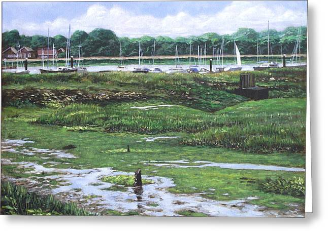 Southampton Water Paintings Greeting Cards - Southampton River Hamble Greeting Card by Martin Davey