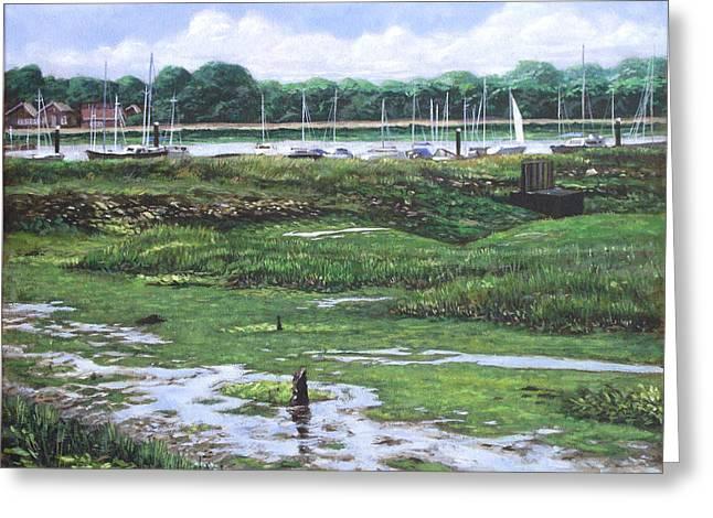 Southampton Paintings Greeting Cards - Southampton River Hamble Greeting Card by Martin Davey