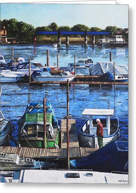 Southampton Paintings Greeting Cards - Southampton River Itchen from Cobden Bridge Greeting Card by Martin Davey