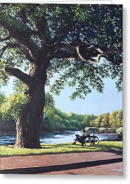 Park Benches Greeting Cards - Southampton Riverside park oak tree with cyclist Greeting Card by Martin Davey