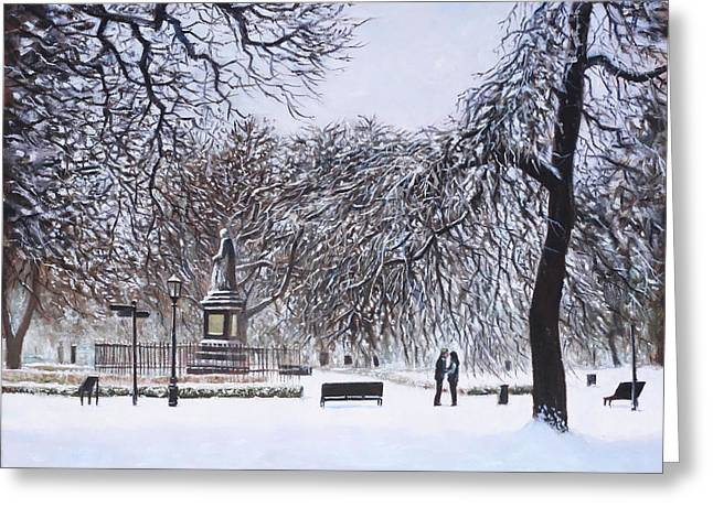 Southampton Paintings Greeting Cards - Southampton Watts Park in the Snow Greeting Card by Martin Davey