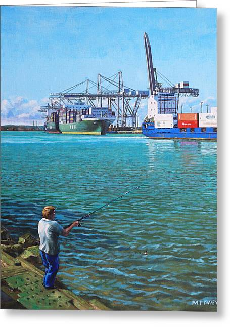 Southampton Paintings Greeting Cards - Southampton Western Docks Container Terminal as seen from Marchwood Greeting Card by Martin Davey