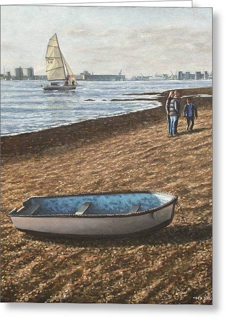 Southampton Water Paintings Greeting Cards - Southampton Weston Shore Greeting Card by Martin Davey