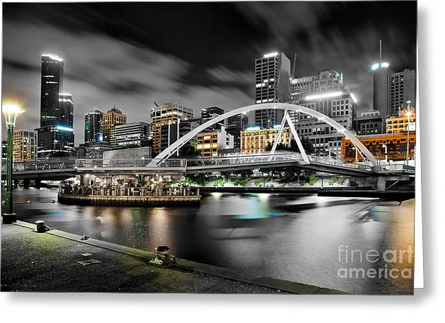 Victoria Photographs Greeting Cards - Southbank Footbridge Greeting Card by Az Jackson