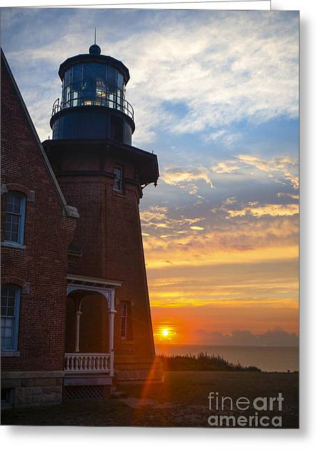 Fresnel Greeting Cards - Southeast Lighthouse Block Island  Greeting Card by Diane Diederich