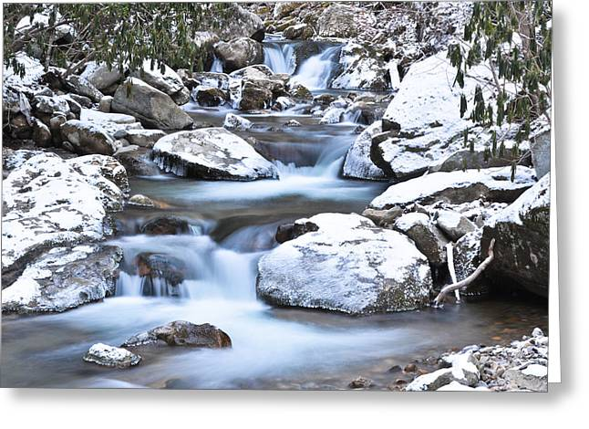 Franklin Tennessee Greeting Cards - Southern Appalachian Stream Snow Greeting Card by Ryan Phillips