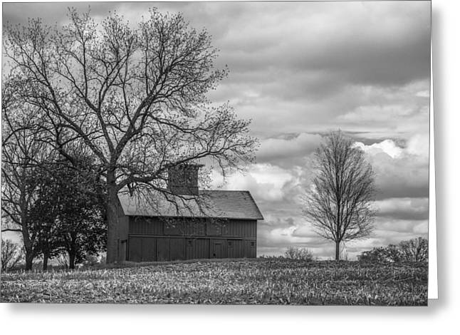 Classic Barn Greeting Cards - Southern Barn in Michigan in Black and White Greeting Card by John McGraw