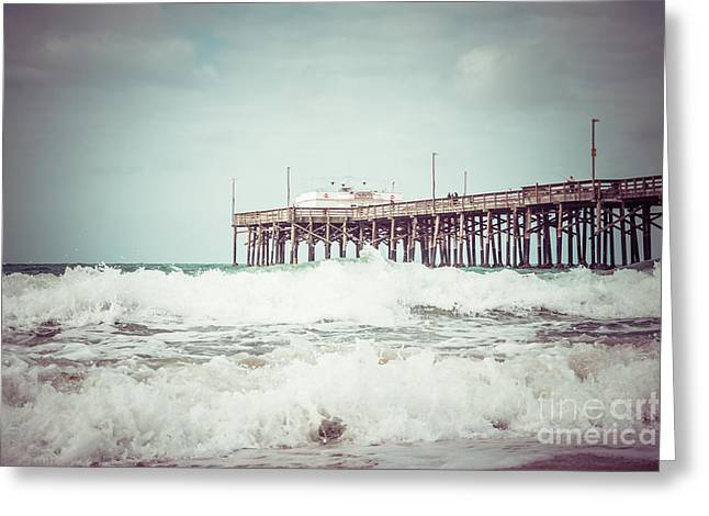 Ruby Greeting Cards - Southern California Pier Vintage 1950s Picture Greeting Card by Paul Velgos