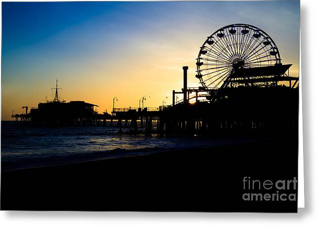 Amusements Greeting Cards - Southern California Santa Monica Pier Sunset Greeting Card by Paul Velgos
