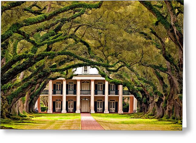 Oak Alley Plantation Greeting Cards - Southern Class painted Greeting Card by Steve Harrington