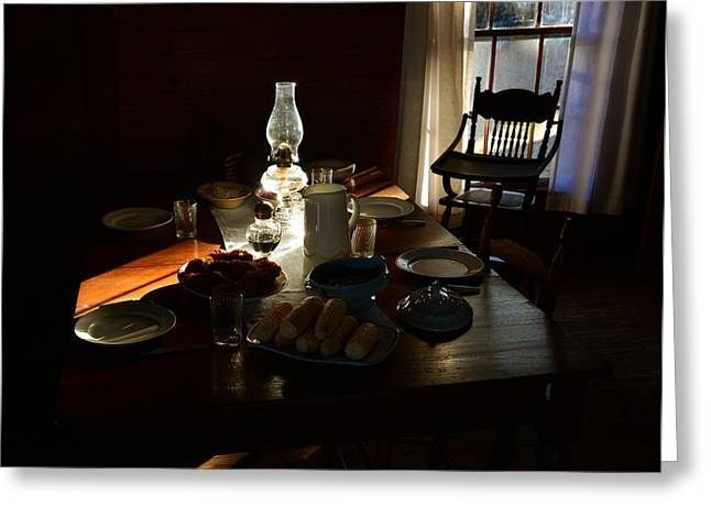 Oil Lamp Greeting Cards - Southern dinning Greeting Card by David Lee Thompson