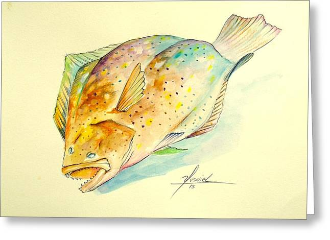 Snapper Greeting Cards - Southern Flounder  Greeting Card by Yusniel Santos
