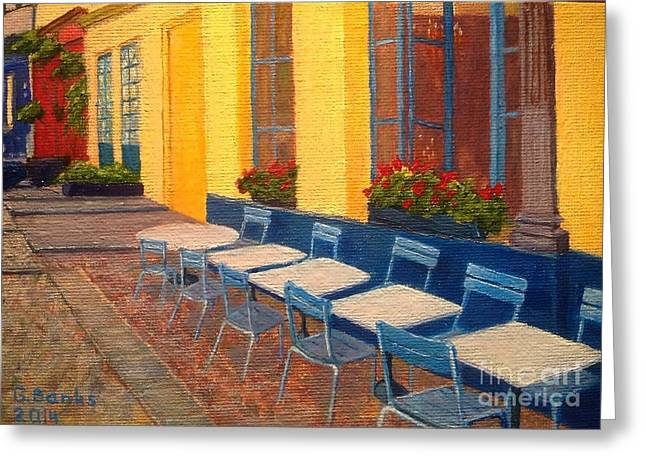 Van Gogh Style Greeting Cards - South France cafe Greeting Card by Gitana Banks