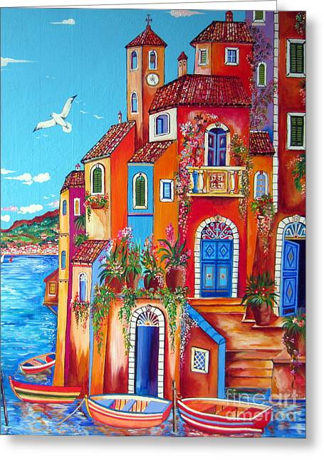 Roberto Greeting Cards - Southern Italy Amalfi Coast Village Greeting Card by Roberto Gagliardi